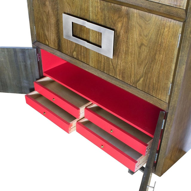 Red 1970s Dry Bar by Jordi Vilanova, Six Doors, Walnut, Lacquer, Brass, Barcelona For Sale - Image 8 of 12
