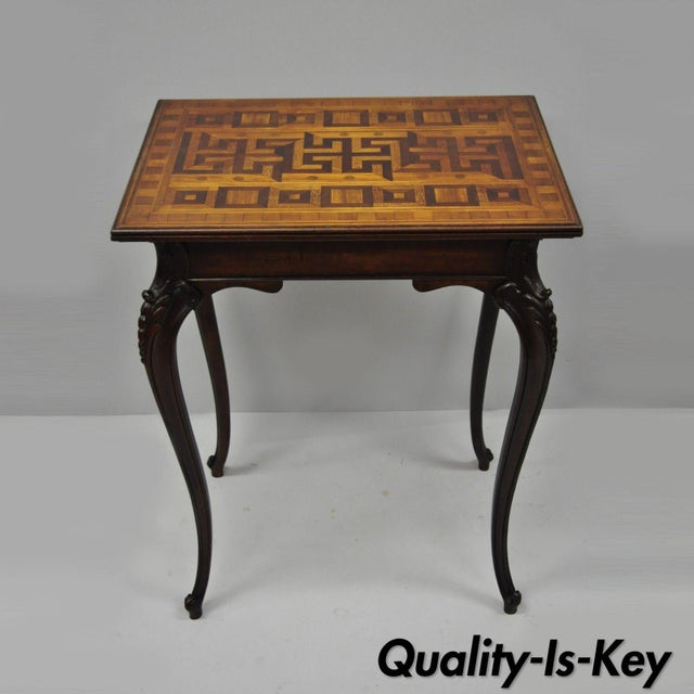 Antique Dutch Marquetry Inlaid French Louis XV Style Carved Walnut Side Table For Sale - Image 13 of 13
