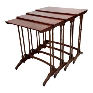 Flamed Mahogany Faux Bamboo Nesting Tables - Set of 4 For Sale
