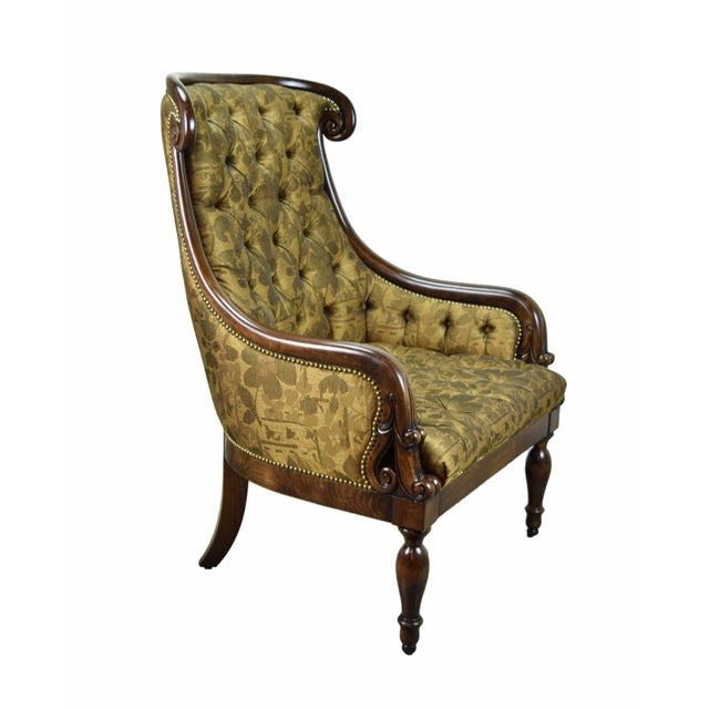 Traditional 1990s Traditional William Switzer Hand Carved Lounge Chair For Sale - Image 3 of 8