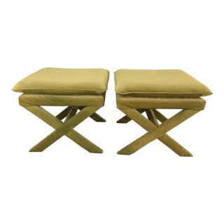 Lime Green X Style Benches - a Pair