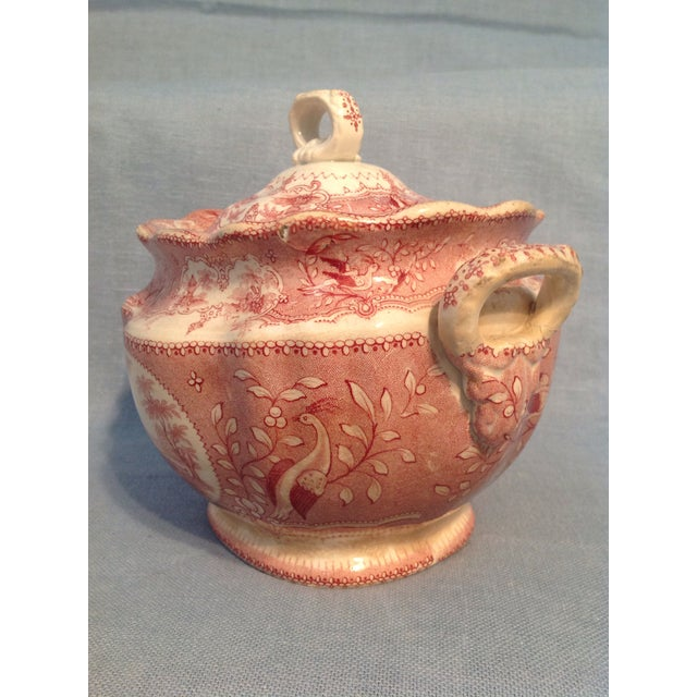 English Traditional Red Transfer-Ware Two Handled Bowl With Lid For Sale - Image 4 of 13