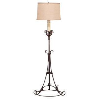 Antique French Forged Iron Candle Stand Floor Lamp circa 1900 For Sale