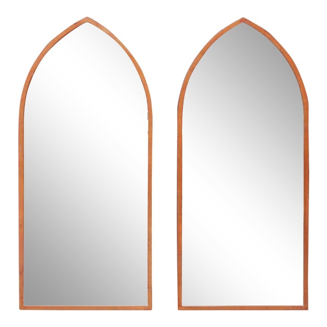 Mid-Century Arched Wall Mirrors With Painted Brass Frames - a Pair For Sale