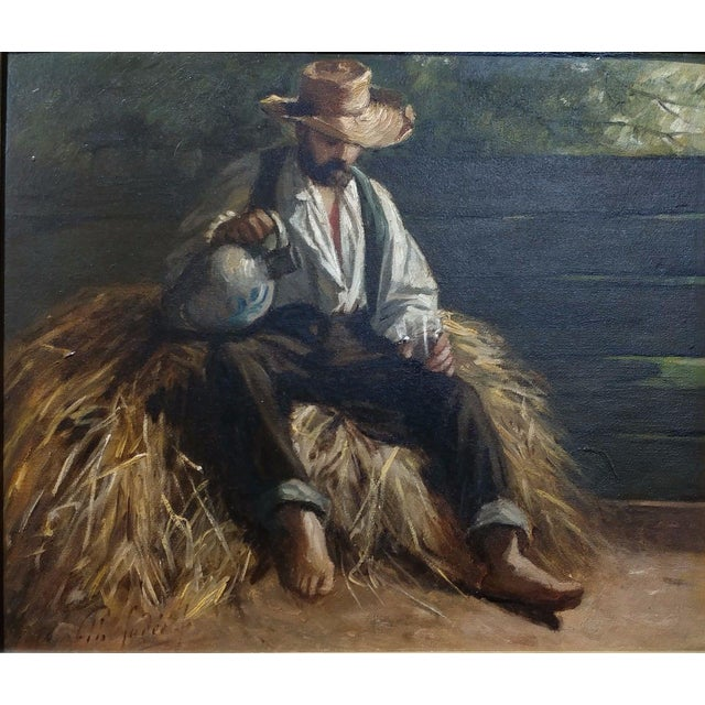 Rest From the Harvest -Original 19th Century Oil Painting -Signed - Image 2 of 9