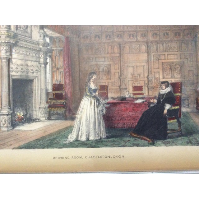 Americana Antique British Castle Rooms Lithograph Prints - a Pair For Sale - Image 3 of 8