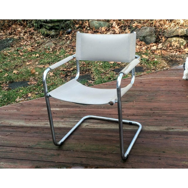 Vintage Mart Stam Breuer Style Tubular Chrome & Gray Leather Chair - Image 5 of 11