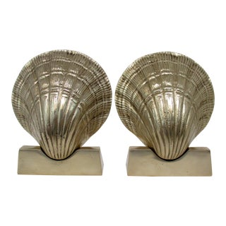 Brass Shell Bookends, a Pair For Sale