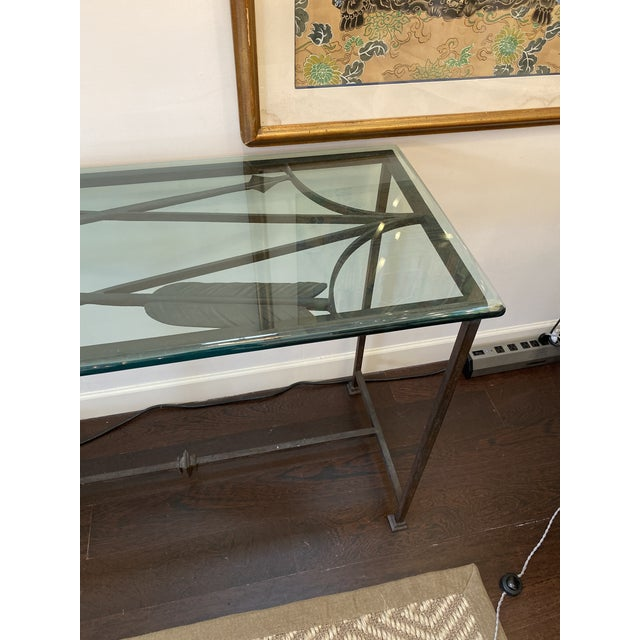 Iron and Glass Arrow Motif Console For Sale - Image 9 of 12
