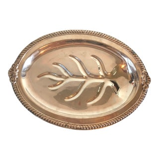 Antique Silver Sheffield Feet and Tree of Life and Gravy Well Fish/Meat Platter For Sale