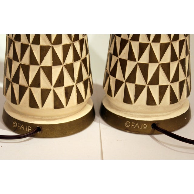 1960s Vintage Faip Mid-Century Modern Geometric Plaster Chalkware Table Lamps - a Pair For Sale In New York - Image 6 of 11