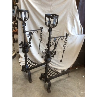 Wrought Iron Andirons With Swing Arms for Cooking - A Pair Preview
