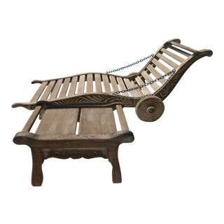 Reed Brothers Hand Carved Custom Redwood Furniture Chaise & Ottoman - A Pair For Sale