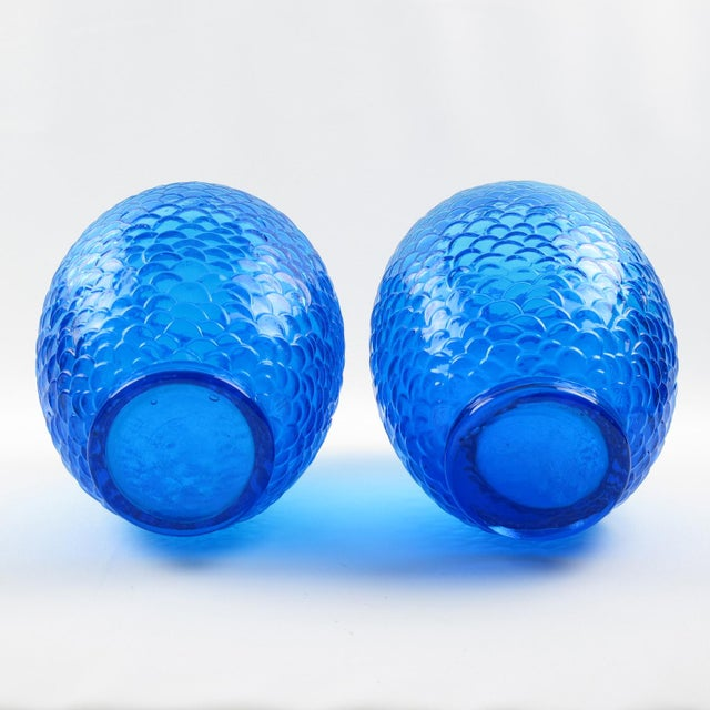 Pierre d'Avesn for Cristallerie Choisy-Le-Roi Blue Molded Glass Vase, a Pair For Sale In Atlanta - Image 6 of 7