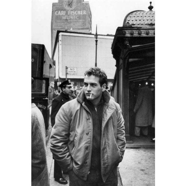 "Handsome Paul Newman is captured here hanging around New York City during the filming of ""Somebody Up There Likes Me"" in..."