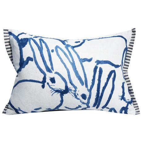 Cotton Bunny Fabric - Hutch Print Navy - Hunt Slonem - Lee Jofa - Groundworks - Lumbar For Sale - Image 7 of 7