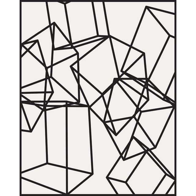 Mid-Century Modern Black Cubes on White 1 Print on Paper For Sale - Image 3 of 5