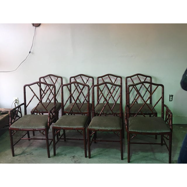 This lovely set of 8 rosewood Chinese Chippendale Style Faux Bamboo design chairs are in great condition. The wood finish...