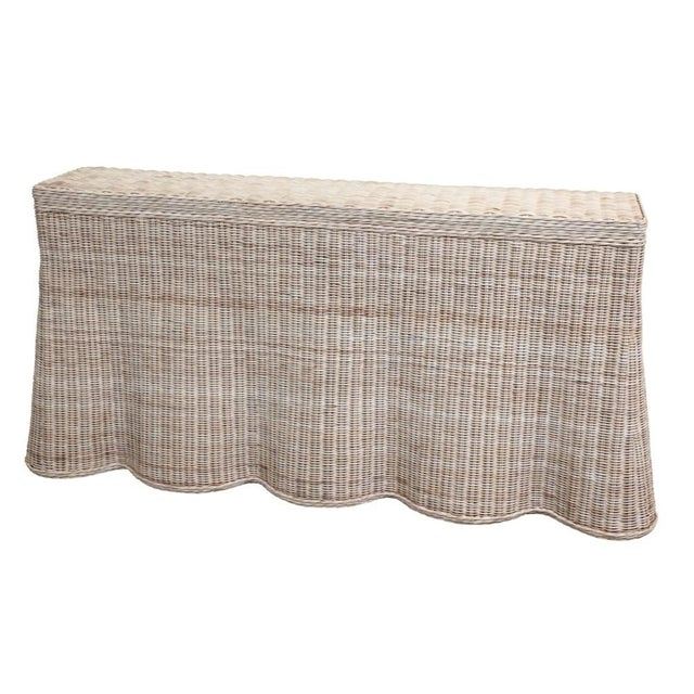 Tan Natural Finish Rattan Scalloped Console For Sale - Image 8 of 8