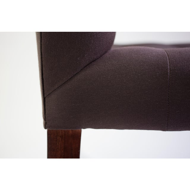 Wood Bisquit Tufted Dining Side Chair With Wood Legs and Balloon Shaped Back For Sale - Image 7 of 8