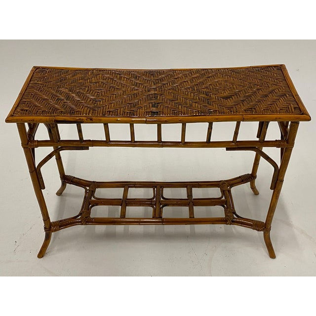 Organic Modern Bamboo and Rattan Console For Sale - Image 4 of 12