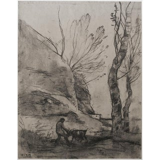 """1950s """"Shepherd With a Goat"""" by Jean-Baptiste-Camille Corot, Large Photogravure For Sale"""