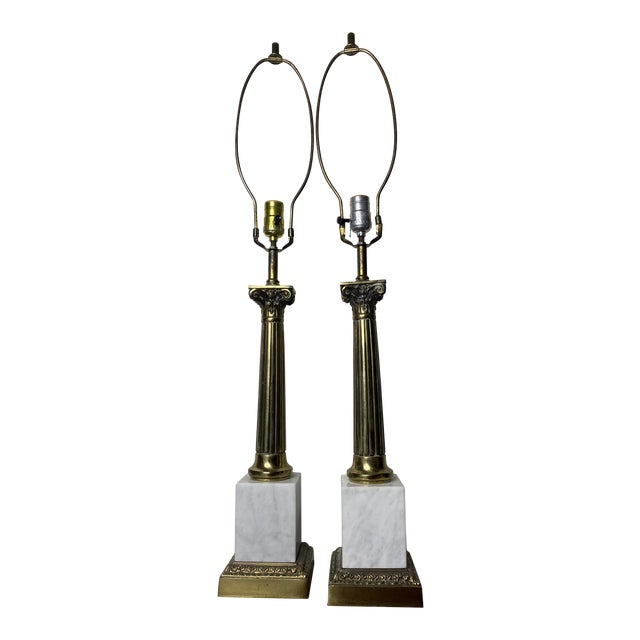 Mid Century Marble and Brass Lamps - a Pair For Sale