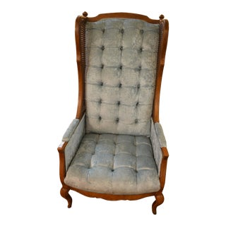 Late 20th Century Vintage Tufted Blue Textured Velvet Cane Wingback Chair For Sale