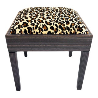 Leopard Upholstered Wood Bench For Sale