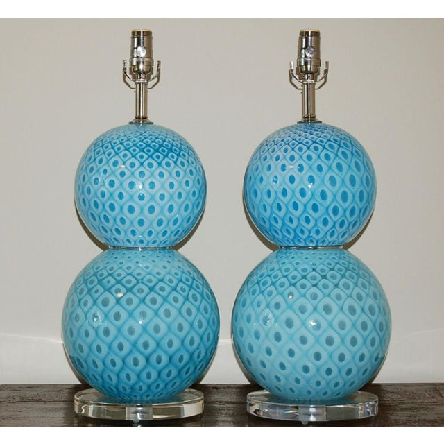 Vintage Venetian glass table lamps by Galliano Ferro in classic stacked ball design. Beautiful MARINE BLUE Murano glass...
