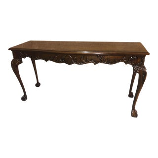 Vintage Heirloom Heritage Carved & Inlaid Mahogany Georgian Style Console Table For Sale