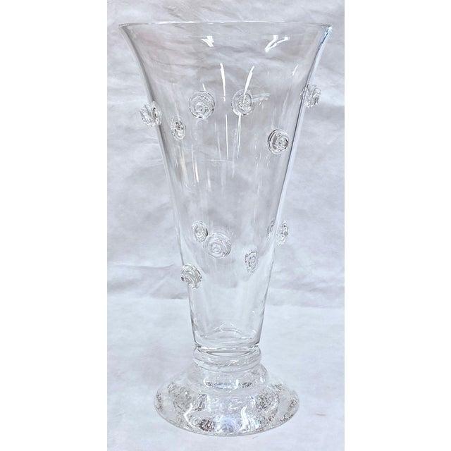 1990s Steuben Swirled Crystal Vase For Sale - Image 5 of 13