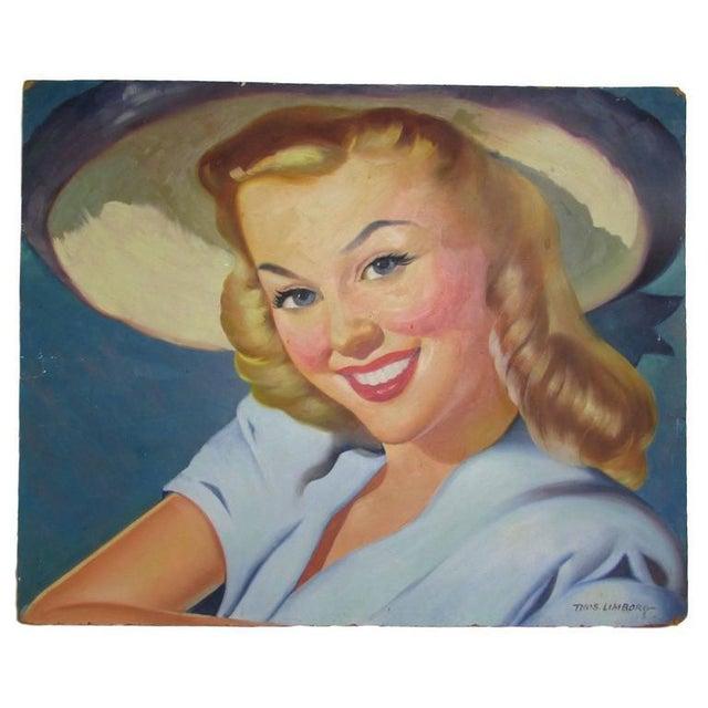 '1940s Girl Next Door' Oil Painting For Sale