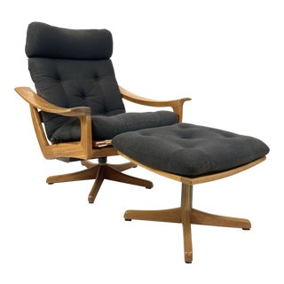 Modern Teak Lied Mobler Lounge Chair and Ottoman For Sale