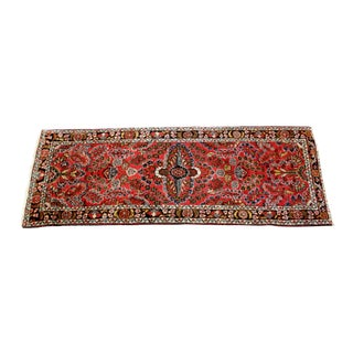 Mid Century Traditional Hand Knotted Wool Runner Rug 7' X 2.5' For Sale