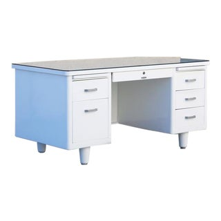 Classic McDowell Craig Tanker Desk Refinished in White For Sale