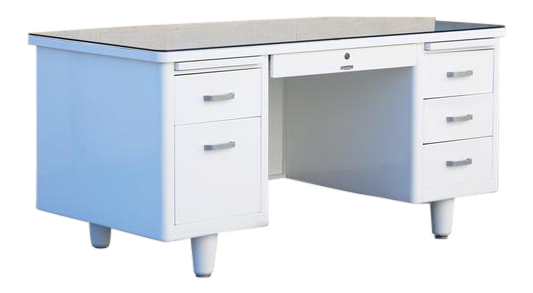 Classic McDowell Craig Tanker Desk Refinished In White