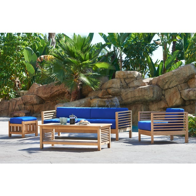 Contemporary Summer 3 Person Teak Outdoor Sofa with Sunbrella True Blue Cushions For Sale - Image 3 of 6