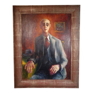 """Circa 1940s """"Portrait of an Old Friend"""" Oil Painting by Burr Singer, Framed For Sale"""