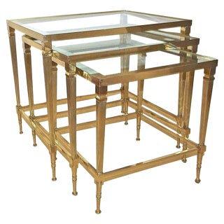 1950s French Maison Jansen Brass Nesting Tables - Set of 3 For Sale