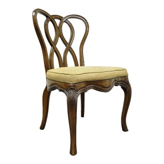 Vintage Hollywood Regency Solid Wood Loop Back Side Occasional Desk Dining Chair For Sale