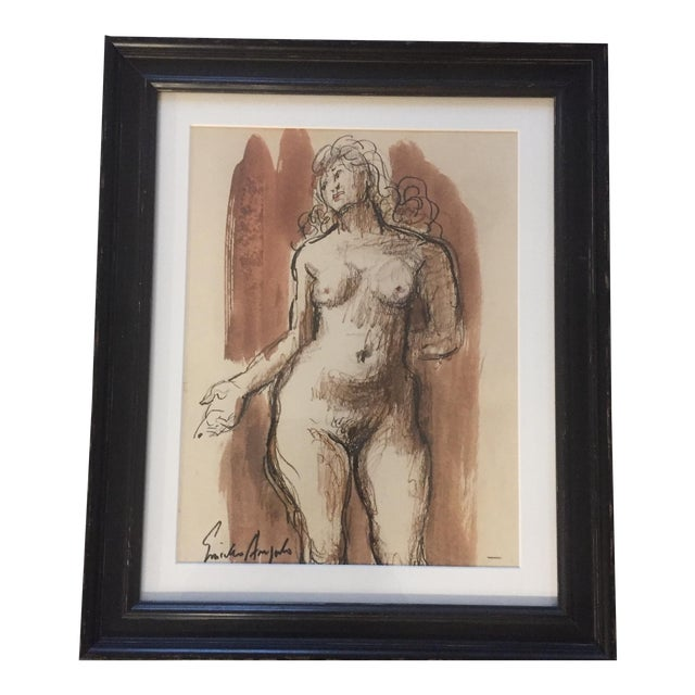 Original Vintage Female Nude Painting For Sale
