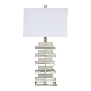 Karl Springer Style Stacked Lucite Table Lamp For Sale