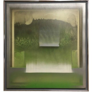 Listed Richard Vaux Vintage Mid Century Modern Abstract Multi-Layer Oil Painting, 1970 For Sale