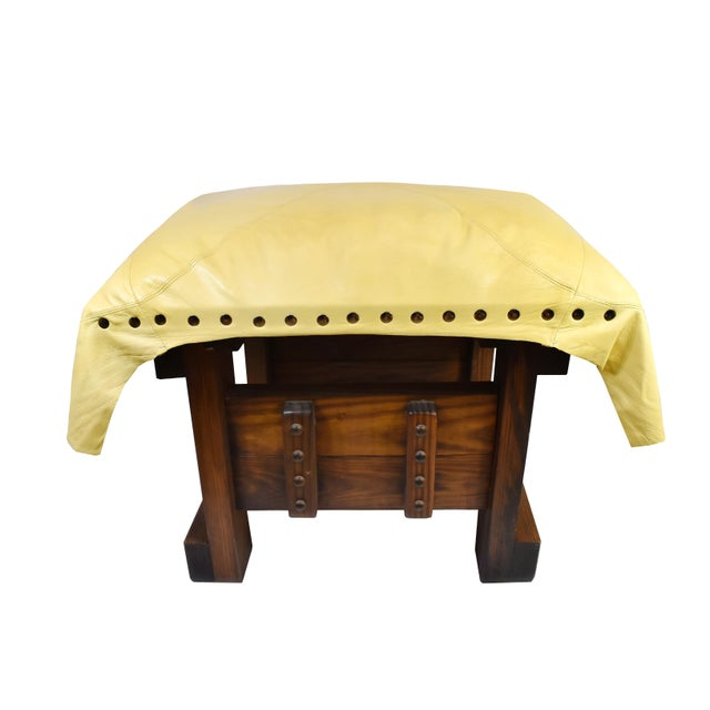 Handmade Wood Leather Footrest Stool Ottoman For Sale - Image 11 of 11