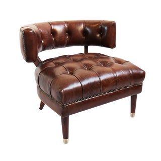Horseshoe Tufted Leather Side Chair For Sale