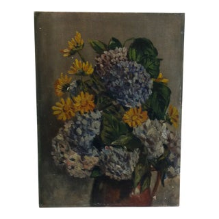 "1950s Vintage Franks ""Colored Flowers"" Painting on Board For Sale"