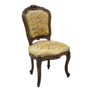 19th Century French Louis XV Style Carved Walnut Needlepoint Side Chair For Sale