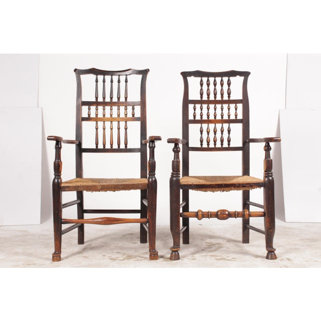 Antique English Elizabethan-Style dining chairs featuring Chippendale crests, turned spindles, Queen Ann & hoof feet and...