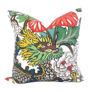 Schumacher Alabaster Chiang Mai Dragon Pillow Cover For Sale